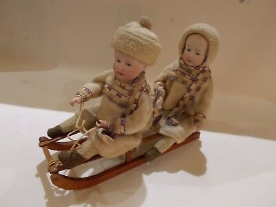 TIME FOR SLEDDING ~Two Heubach Kids on Sled ~ German Candy Container ~ 1910-20's