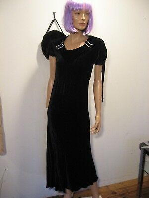 Vintage 1930s Art Deco Black Velvet Dress Bias Cut ruched slvs TAILS Jeweled XXS