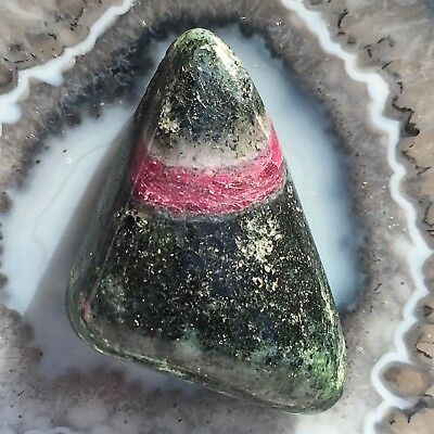 RUBY ZOISITE RED GREEN 36mm NATURAL ANYOLITE GEMSTONE 19g Pocket Tumble Crystal