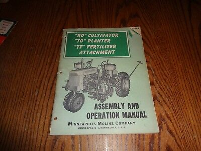 Minneapolis Moline Assembly Operation Manual RO Cultivator TO Planter Tractors