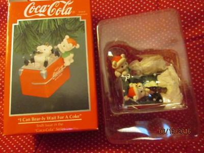 Enesco COCA-COLA Ornament I CAN BEAR-LY WAIT FOR A COKE w/Box #6 in Series