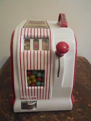 ORIGINAL 1940's 5¢ AMERICAN EAGLE TRADE STIMULATOR GUM BALL SLOT MACHINE coin op