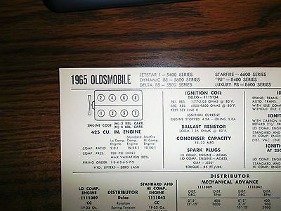 1965 Oldsmobile Series Models 425 CI V8 SUN Tune Up Chart Sheet Great Shape!