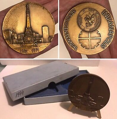 1971 INDIANAPOLIS SESQUICENTENNIAL Bronze Medal MEDALLIC ART CO w/Stand & Box
