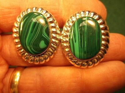 #13 of 15, VERY PRETTY PAIR OF VTG MEXICAN STERLING SILVER & MALACHITE EARRINGS