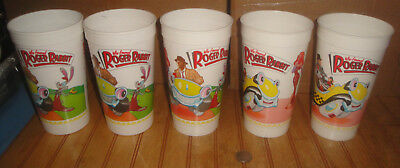"Lot of (5) McDonalds 1988 ""Who Framed Roger Rabbit"" Collector Cups"