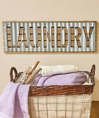Laundry Room Corrugated Metal Wall Sign Art Vintage Look Home Decor