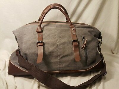 classic Weekender duffle bag brown leather canvas quality zipper durable  travel b44d96edeb704
