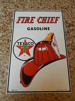 """Fire Chief"" Texaco  Ande Rooney Porcelain Enameled Sign"