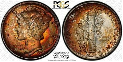 1945 Mercury Dime ~ PCGS MS66 ~ Deeply Toned w/ TrueView!