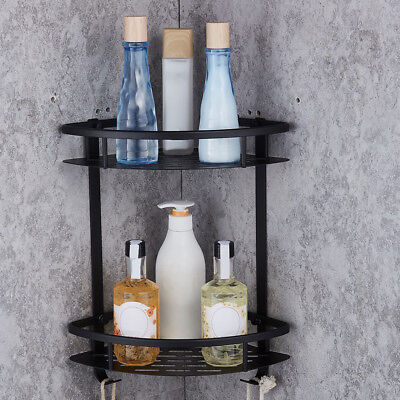 Double Layer Wall Corner Rack Holder Bathroom Shelf Triangular Storage Organizer