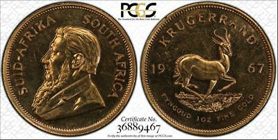 1967 Krand South Africa Pcgs Pl 64 1967 S Africa Krugerrand Proof Like Gold Coin