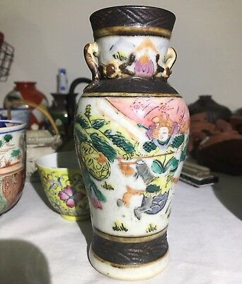 Old Chinese Vase With Polychrome Painted Enamel Late 1800s To 1930s