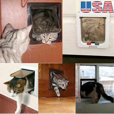 4 Way Medium Small Large Pet Cat Puppy Dog Magnetic Lock Lockable Safe Flap Door