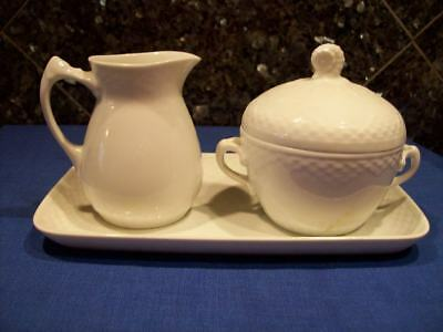 "4 Pc SET VINTAGE B&G PURE WHITE ""SEAHORSE"" CREAMER COVERED SUGAR BOWL UNDERPLATE"