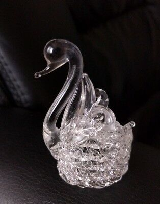 Hand Blown Lattice Clear Glass beautiful Swan figurine