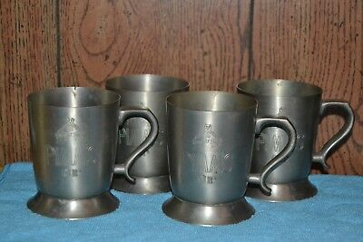 Set of 4 PIMM'S Cup Pewter Mugs with Crest byOzelime's Los Angeles