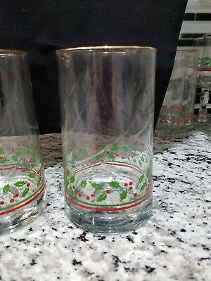 Vintage Christmas Holly Drinking Glasses Libbey Arby's Set of 4