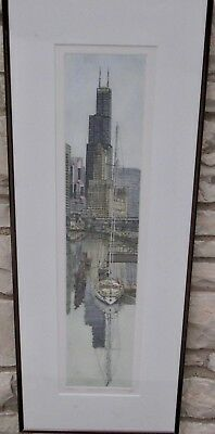 Limited Edition Etching Signed Numbered Artist Tom Dieschbourg  Chicago Bridge