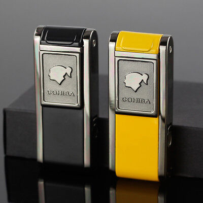 COHIBA Metal 2 TORCH JET Fire FLAME CIGAR CIGARETTE LIGHTER With Lateral PUNCH