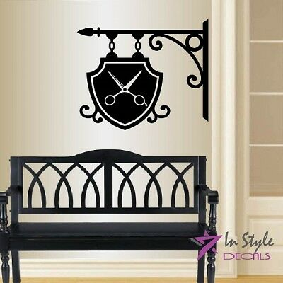 Vinyl Decal Barber Shop Sign Logo Street Retro Scissors Wall Decor Sticker 2162