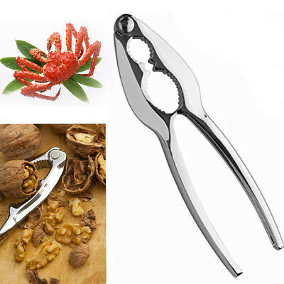 1x Stainless plier nut cracker shell walnut crab seafood lobster opener Remover