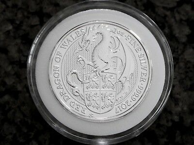 2017 UK Queen's Beasts 2oz Silver Red Dragon of Wales BU, NR & Free Shipping!
