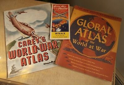 Carey's World War Atlas, & Rand McNally Battle Map of the Pacific WNAX Original