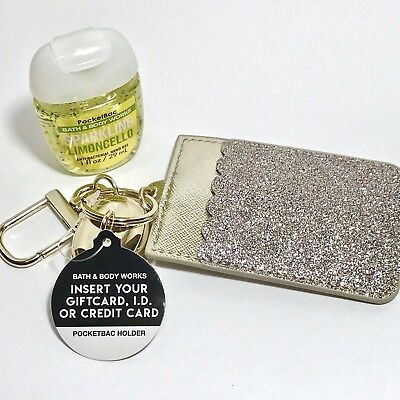 Bath & Body Works Glittery Gold Credit Card Holder + Sparkling Limoncello Gel