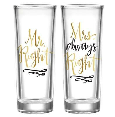 Cute Wedding/Engagement Gift - Mr Right and Mrs Always Right Shot Glass Gift Set