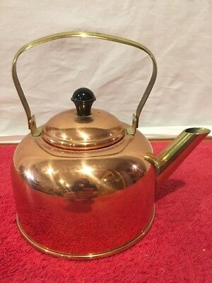 Vintage Copper and Brass Tea Kettle [Coppercraft Guild, Taunton, Mass.]