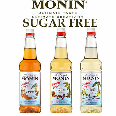 Monin Coffee Syrups SUGAR FREE 1 Litre Bottles - AS USED BY COSTA COFFEE Flavour