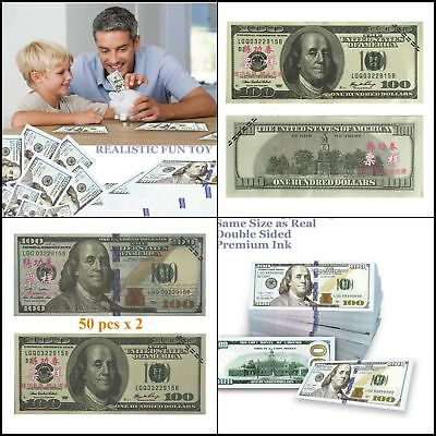 Realistic prop money double sided