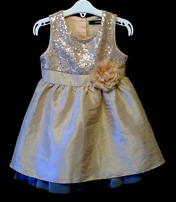 Baby Girls George Gold Sparkly Sequins Lined Satin Party Dress Age 18-24 Months