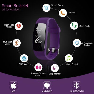 Bluetooth Smart Wristband Bracelet Waterproof Fitness Heart Rate Monitoring RB