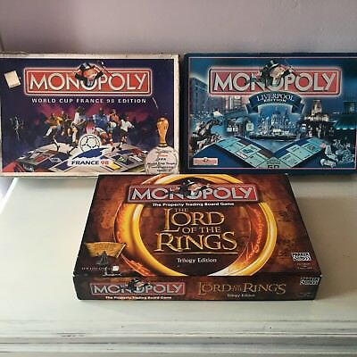 Lot of 3 Collectable Monopoly's - LOTR, Liverpool & WC France 98,See Description