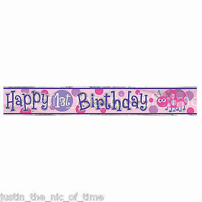 1ST BIRTHDAY LADYBUG Pink Girl Party Banners Decorations 12ft FOIL BANNER