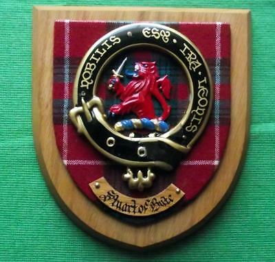 Vintage Old Scottish Carved Oak Clan Stuart Tartan Plaque Crest Shield