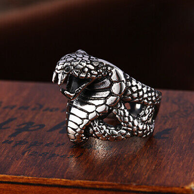 Cool Mens Womens Jewelry Punk Cobra Snake 316L Stainless Steel Ring Sz 7-13