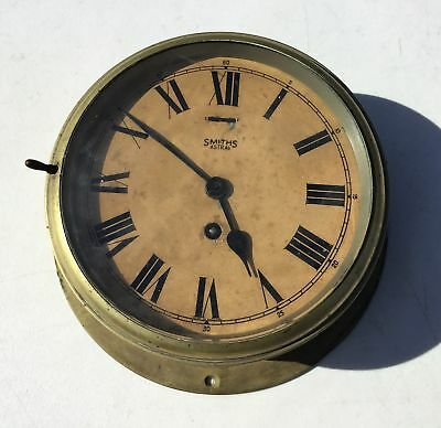 "Antique Smiths Astral Ships Clock Brass Maritime w/ Key 8' Face 10.5"" Back Plate"