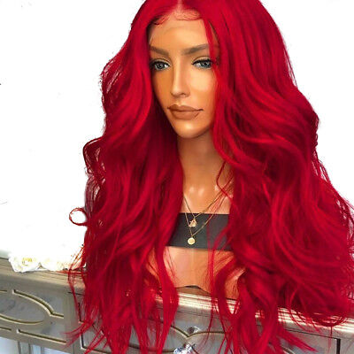 "AU 24"" Wavy Long Synthetic Hair Red Lace Front Wig Full Head Fashion"