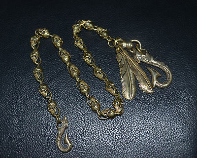 Handmade Copper Brass Lost wax Casting Skull Hand Polished Punk Pants Chain Hook