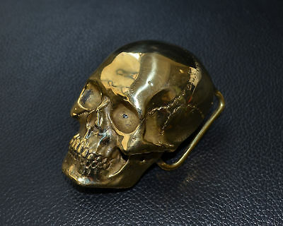Handmade Pure Copper Brass Lost wax Casting Skull Hand polished Belt Buckle DIY