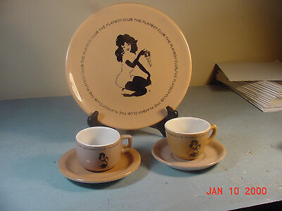 Vintage Playboy Club Dinner Plate Pair of Playboy Cups and Saucers