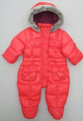 TED BAKER Baby Girls Red Quilted Snowsuit Pramsuit Faux Fur Hood 0-3 month 12lbs