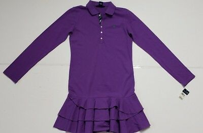 Nwt Polo Ralph Lauren Girls Polo Dress Purple Xl(16) #72