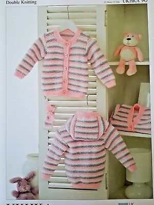UKHKA 90 New Knitting Pattern - Baby Striped Cardigans Knitted in DK Wool