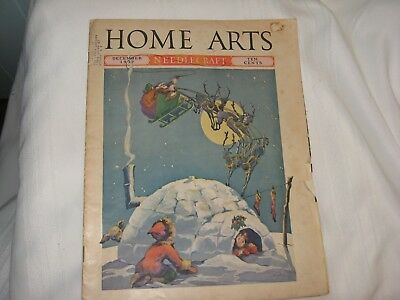 December 1937 Vintage Home Arts Needlecraft Magazine Santa Claus Signed Cover