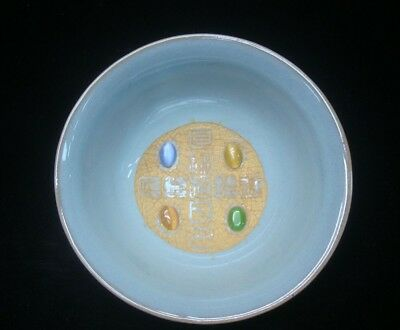 "Rare Fine Old Chinese ""Ru"" Kiln Celadon with Stones Porcelain Bowl Marks"