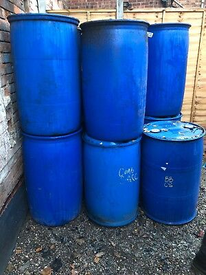 Blue Plastic Drum Barrel Storage Container  ONE AVAILABLE